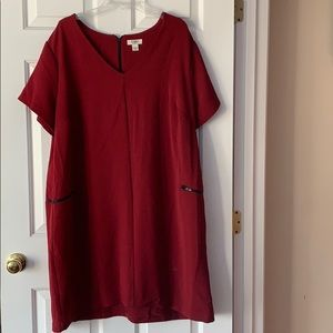 Cato burgundy and black zip dress